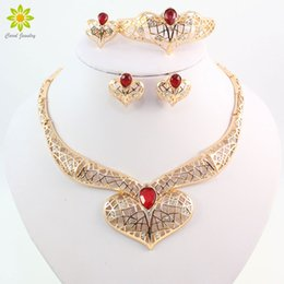 African 18K Gold Plated Wedding Bridal Costume Jewelry Sets Fashion Red Green Zircon Beads Crystal Necklace Earring Ring Bracelet Sets