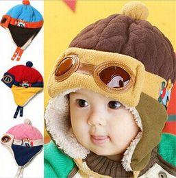 Wholesale 10PCS HOT Baby colors Kids Earmuffs Pilot Cap Hot Warm Aviator Earflap Hat for Winter warm hat for baby D455