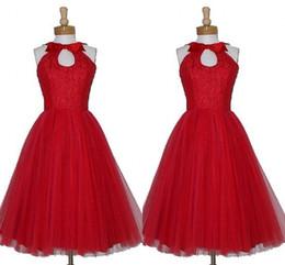 Red Elegant Knee Length Bridesmaid Dress Keyhole Neck Custom Made Plus Size A Line Bow Vintage 1905's Short Bridesmaid Dresses