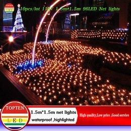 Rgb led net à vendre-Gros-10pcs / lot 1.5 * 1.5 m 96 LED 8 modes de flash 110V lumière de chaîne net lumières de Noël cérémonie de mariage lumière de la livraison gratuite Nouvelle année