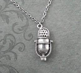 Wholesale 12pcs Vintage Old Fashioned Radio Microphone Inspired Necklace In silver