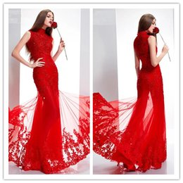 2015 Elegant Special Occasion Dresses High-Neck Mermaid Sequins Beads Sleeveless Floor-Length Prom  Evening Dress