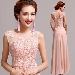 Cheap Sleeveless Floor-Length Applique Lace Long Chiffon Evening Dress 2019 New Formal Evening Gown Bridesmaid Dress Party Prom Gown