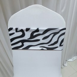 100PCS White & Black Color Zebra Print Pattern Spandex Chair Band No Buckle For Weding Decoration Use