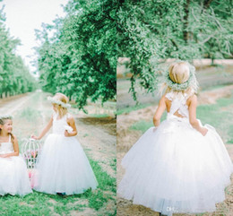 2019 Latest Collection Bespoke Couture Flower Girl Dresses Strapless Criss Cross Lace Back Ball Gown Floor Length Tulle Feathery Ruffles