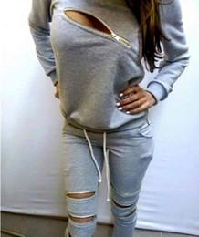 Plus Size 2017Women Autumn Sweatshirt Suit Zipper O-Neck Long Sleeve Hollow Out Ladies Sport Suit Tops+Pants Black Gray