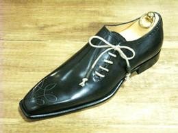 Men Dress shoes Oxfords shoes men's shoes Custom handmade shoes Genuine calf leather Color dark navy HD-J042