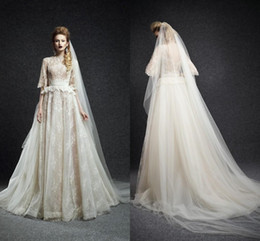 2015 ivory Wedding Dresses Collection Ersa Atelier Vintage Princess Style Jewel 1 2 Sleeves Natural Waist Low Zipper Back Lace Organza Gown