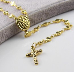 """Brand New Never Fade Golden Stainless Steel christians 22""""+4cm Rosary 4mm Necklace With Cross pendant Chain Women For XMAS Birthday Jewelry"""