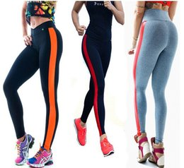 Wholesale Fashion Summer High Stretched Printed Lady Skinny Pants SWAG Fitness Running Leggings Women Sport yoga Striped Leggings Street Wear JH16 L03