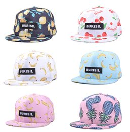 Wholesale Lovely fruit banana pineapple cloth pattern hip hop hat men and women sun hat adjustable baseball cap flat brimmed hat