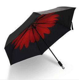 Wholesale creative umbrella black sun uv mini women s folding umbrellas Daisy Carry Super light S black coating beach umbrella gift