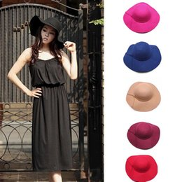 Wholesale-Popular!New Fashion Women Girls Wool Wide Brim Felt Bowler Fedora Hat Lady Floppy Cloche Wholesale