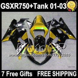 7gifts+Tank Golden black For SUZUKI 01 02 03 GSXR750 GSX-R750 Gold black 3G4278 GSXR-750 GSXR 750 K1 01-03 GSX R750 2001 2002 2003 Fairings