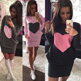 Wholesale-Casural Women Fashion Heart Print Dress Winter Warm Cotton Bodycon Long Sleeve Dress