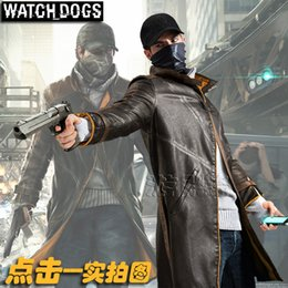 Fall-long Trench men for watch dogs Cosplay halloween costumes for men sobretudo masculino Artificial leather double x-long coat