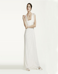 Wholesale Custom Made Long Matte Chiffon Dress And ace cap sleeves and eye catching open back detail XS3450 Wedding Dresses