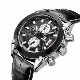 Megir Hommes Montres Quartz Militaire Bracelet Cuir Homme Pilote Montre Homme Relogio Masculino Saat Montres-bracelets relojes mujer 2016 à partir de bracelet en cuir pilote fabricateur