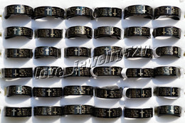Wholesale FREE L pieces English Bible Prayer Stainless steel Cross Black Rings Width Thick mm New