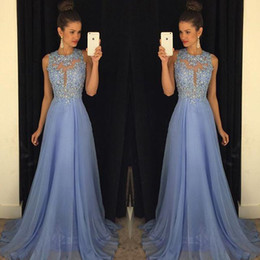 Unique 2017 Lavender Prom Dresses Lace Applique Beads Formal Long Party Dresses A Line Crew Neck Sexy Back Chiffon Summer Evening Gowns