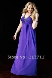 Wholesale prom Petite Fun A line Purple chiffon gown bias cut neckline plus size prom dress