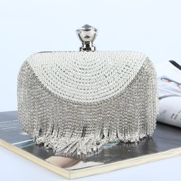 Factory Retaill Wholes brand new handmade decent beaded diamond evening bag clutch with satin pu for wedding banquet party porm(More colors)
