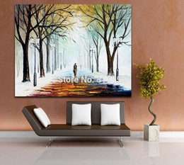 Modern Palette Knife Oil Painting The Winter Mood Scenery Painting Printed on Canvas for Living Room Bedroom Wall Decor