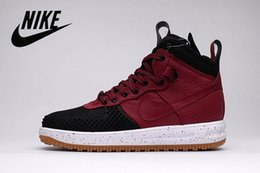 online shopping Nike Lunar Force Duckboot Men s Sneaker Boot Black White Sneakers Walking Outdoor Sports Shoes Breathable Jogging Air Force One Shoes