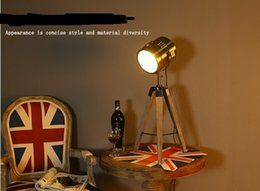 Wholesale 2016 Newest Design Eco Natural Wood tripod Table lamp Desk light Searchlight Bronze Color