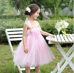 2015 Organza Suspender Flower Lace Wedding Gauze Chiffon Veil Tutu Kids Clothes Tank Full Dress Children Formal Dresses Pink D4870