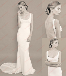 Stretch Satin Mermaid Wedding Dresses Bridal Gowns with Spagehetti Straps White Lace Backless Floor Length Wedding Gowns