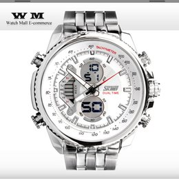 Luxury Full Steel watch Skmei 0993 Men Sports Watches LED Diaplay Multi-functional Military Watches