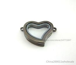 Wholesale 5pcs mm Gun black color Plain Heart Living Floating Memory Glass Locket For Locket Bracelet JK11