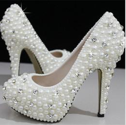 Perles de diamant hauts talons en Ligne-Européens et américains de luxe des femmes de cristal perle chaussures de mariage de diamants / imperméables chaussures de mariée et de chaussures à talons hauts