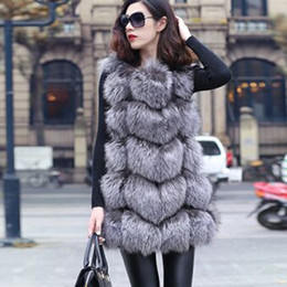 Wholesale-New 2015 Winter Coat Women Fashion Import Overcoat Whole Peel Fox Fur Vest High-Grade Cappa Fur Coat Leisure Women Coat