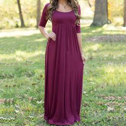 Wholesale Women s Burgundy Floor Length Dress Scoop Neck Half Sleeve Autumn Day Dress High Waist Pleated Maxi Beach Dresses HMF0363