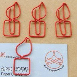 Wholesale red candle Paper clips bookmark Office supply clips tone cheap