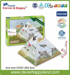 Wholesale New Clever Happy d puzzle Food Pyramid from schoolbook child puzzle early learning toy paper handmade model