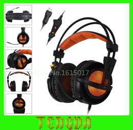 Promotion jeu casque professionnel Gros-2015 SADES A6 7.1 Surround Sound Professional Gaming Headset casque filaire USB avec micro Over-Ear écouteurs pour PC jeu d'ordinateur