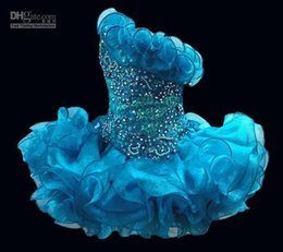 Wholesale 2015 Glitz Cupcake Organza Girls Pageant Dresses Sparkle One Shoulder Beading Crystal Ruffles Short Kids Formal Party Prom Gowns new