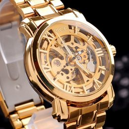 Wholesale 2015 Best Gold Watch Mens Skeleton Mechanical Fashion Hollowed Watch Stainless None Battery Watch