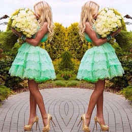 Charming Sweetheart Mint Green Short Lace Ball Gown Prom Dresses Homecoming Dresses Graduation Dresses 2015 EA0071
