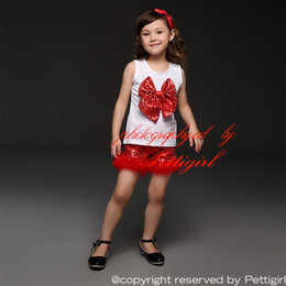 Pettigirl White Christmas Children Girls Clothing Sets Cotton Top With Bows And Sequins And Red Shorts 2 Pieces Fancy Kids Clothes CS40322-2