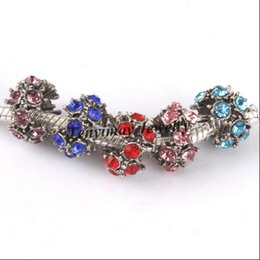 Mixed Color New Arrive Retro European Charm Beads Rhinestone Big Hole Beads For Snake Chain Necklace 100pcs Wholesale