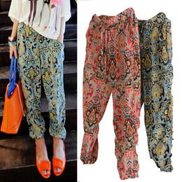 Women Korean Floral Chiffon Harem Pants Women Ladies Plus Size Fashion Flower Printed Casual long Loose pants Capris Women Trousers