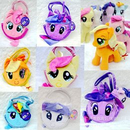 Wholesale 6Color My Little Pony Plush Girl Bag Kids Birthady Gift Money Bags Children s Day Cartoon Horse Purse Childs Girls Princess Bags G062