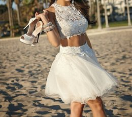 Two Pieces Sexy Lace Party Dresses 2016 Jewel A line Pleats Tulle Fabric Beaded Homecoming Graduation Gowns Custom made