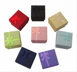 Favor Bag Wholesale Multi colors Jewelry Box, Ring Box, Earrings Box 4*4*3 Packing Gift Box Free Shipping