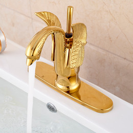 """High-end Swan Shape Bathroom Basin Vessel Faucet Deck Mount with 8"""" Cover Gold Finish"""