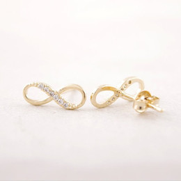 Fashion Zircon infinity symbol stud earrings wholesale free shipping Classic stud earrings Women's earrings gold silver plated